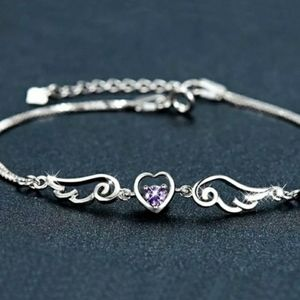 Sterling Amethyst Heart Bracelet